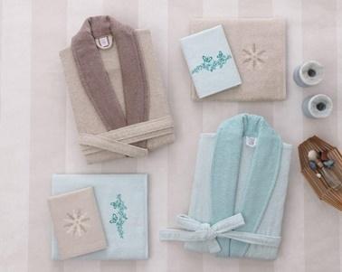 Soley Pamuklu Klasik Aile Bornoz Seti - New Classic Yeşil